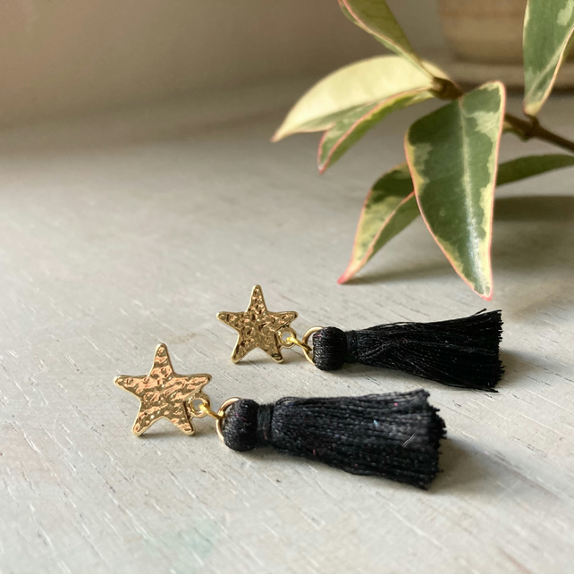 Black & Gold Star Tassel Earrings