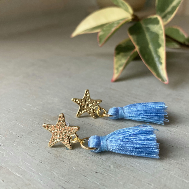 Pale Blue & Gold Star Tassel Earrings