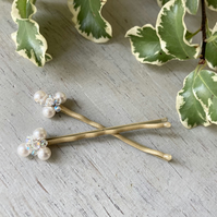Two Beaded Hair Pins with Swarovski pearls and crystal
