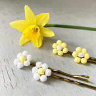 Two Spring Flower Beaded Hair Pins, Yellow & White
