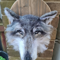 Handmade Needle felted Large Grey Wolf sculpture by Countryjewells