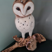Handmade Needle felted Life size owl sculpture by Countryjewells