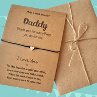 Thank you Daddy Wish Bracelet, Father's Day Gifts, Gifts for Dad