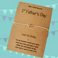 First Fathers Day Wish Bracelet, Charm Bracelet, Gifts for Dad