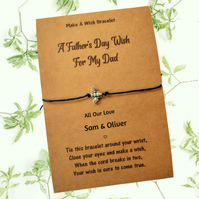 A Fathers Day Wish Card and Bracelet, Gifts for Dad