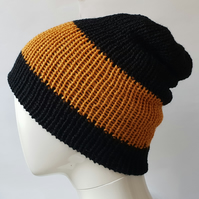 Black and yellow gold reversible beanie