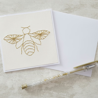 Hand Stitched Bee Card