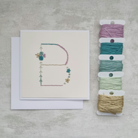 Letter B embroidered card, hand stitched initial card, hand sewn keepsake card