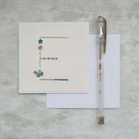 Letter E embroidered card, hand stitched initial card, hand sewn keepsake card