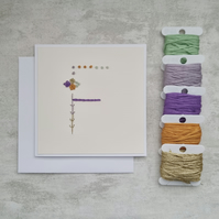 Letter F embroidered card, hand stitched initial card, hand sewn keepsake card