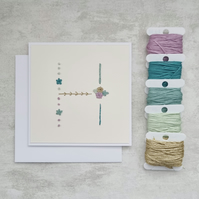 Letter H embroidered card, hand stitched initial card, hand sewn keepsake card