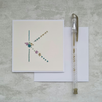 Letter K embroidered card, hand stitched initial card, hand sewn keepsake card