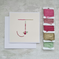 Letter J embroidered card, hand stitched initial card, hand sewn keepsake card