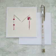 Letter M embroidered card, hand stitched initial card, hand sewn keepsake card