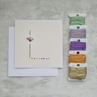 Letter L embroidered card, hand stitched initial card, hand sewn keepsake card