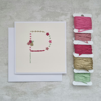 Letter P embroidered card, hand stitched initial card, hand sewn keepsake card
