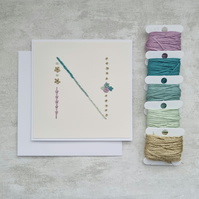 Letter N embroidered card, hand stitched initial card, hand sewn keepsake card