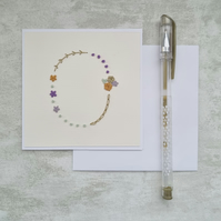 Letter O embroidered card, hand stitched initial card, hand sewn keepsake card