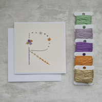 Letter R embroidered card, hand stitched initial card, hand sewn keepsake card
