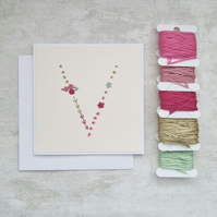 Letter V embroidered card, hand stitched initial card, hand sewn keepsake card