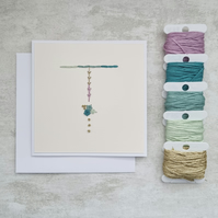Letter T embroidered card, hand stitched initial card, hand sewn keepsake card