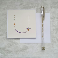 Letter U embroidered card, hand stitched initial card, hand sewn keepsake card