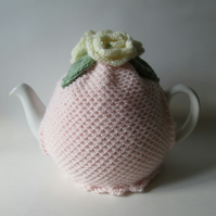 Handknitted sorbet rose pink coloured tea pot cosie