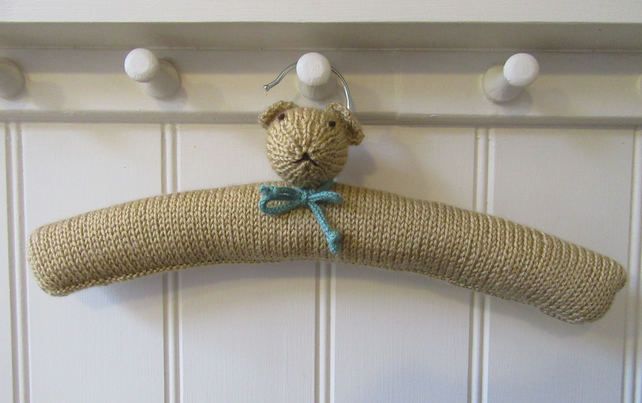 Hand knitted Childrens Teddy Bear Clothes Hanger