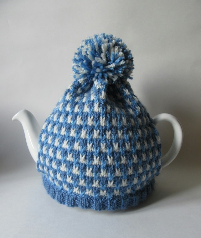 Hand knitted cornish blue tweed tea cosie