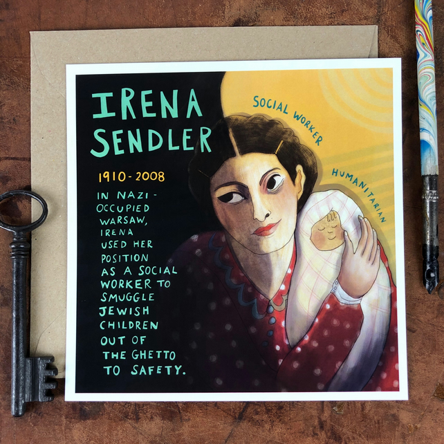 Have You Heard Of..? Illustrated women from history postcard -IRENA SENDLER-