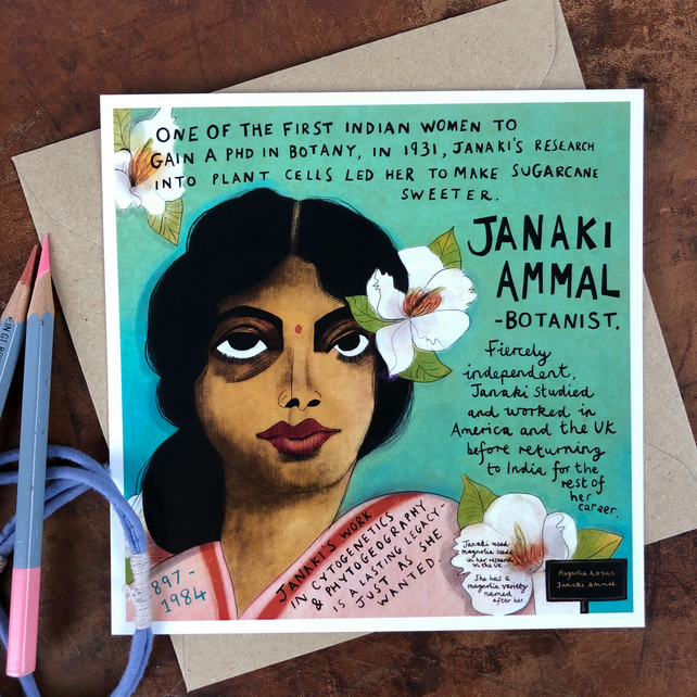 Have You Heard Of..? Illustrated women from history postcard -JANAKI AMMAL-
