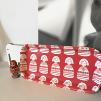 'Red Babushka' rectangular serving tray or home office desk tidy