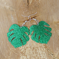 Deep Green Glitter Faux Leather Monstera Leaf Earrings