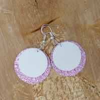 White & Pale Pink Glitter Faux Leather Double Layer Circle Earrings