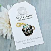 Teacup Cat Stitch Marker - Black