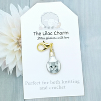 Grey Cat Light Bulb Stitch Marker