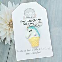 Ice Cream Unicorn Stitch Marker - Mint