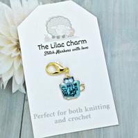 Turquoise Teacup Cat Stitch Marker
