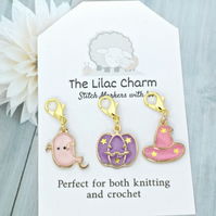 Halloween Stitch Marker Set - Pink-Purple