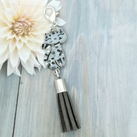Cat Tassel Bag Charm - Grey