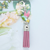 Bird Tassel Bag Charm - Pink