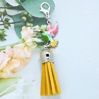 Bird Tassel Bag Charm - Yellow