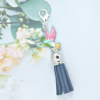 Bird Tassel Bag Charm - Blue