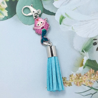 Mermaid Tassel Bag Charm - Turquoise