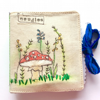 Handmade Embroidered Needle Case Shabby Chic