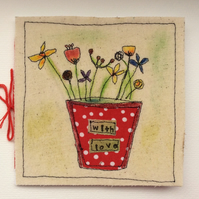 Textile Card Embroidery Any Occasion Handmade