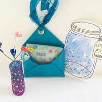 Miss You Hanging Ornament Gift Blue