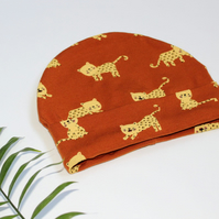 Rust Panther Print Cotton Beanie Hat