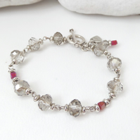 Smoky Quartz Neutral Crystal,  Tibetan Silver Toggle Clasp Bracelet