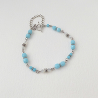 Turquoise Glass Tibetan Silver Bracelet, toggle clasp.